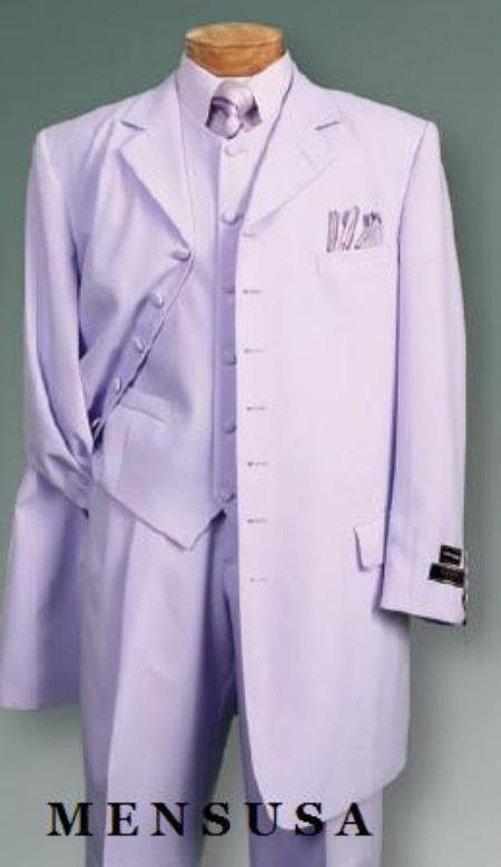 SKU# 427 Lavender SUIT 3PC FASHION ZOOT WITH VEST Cover Buttons Comes
