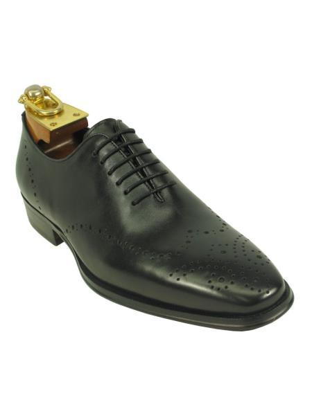 Men's Leather Black Fashionable Carrucci Lace Up Style Black Dress Shoe