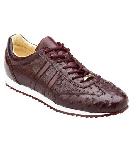 Mens Lace Up Genuine Ostrich Casual Leather Dark Burgundy Sneakers