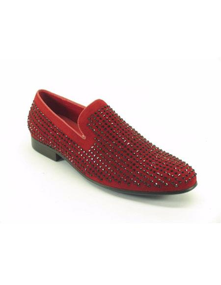 Mens Carrucci Fashionable Suede Studs Leather Lined Red Dress Shoes Slip on - Stylish Dress Loafer Red And Tint Of Black - Red Mens Prom Shoe
