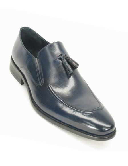 Carrucci Mens Leather Slip On Style Navy Tassel Loafer Shoe