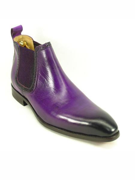 Mens Burnished Leather Purple Dress Shoe