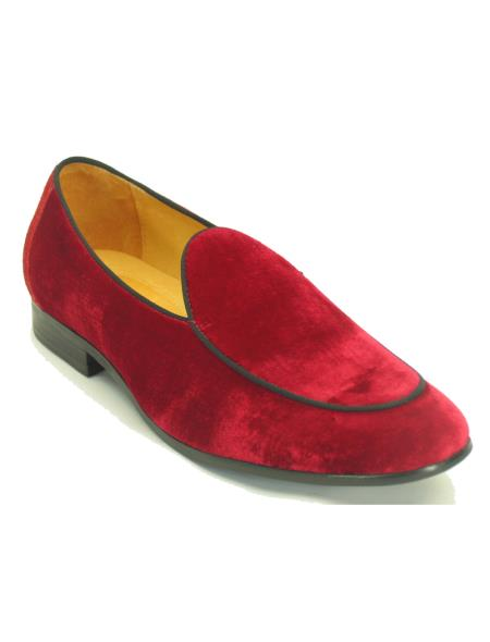 Carrucci Mens Red Genuine Velvet Slip on - Stylish Dress Loafer Red And Tint Of Black Fashionable Shoe - Red Mens Prom Shoe Shoes