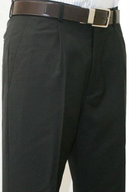 Leonardo Valenti Mens Single Pleated Dress Pants Roma Black unhemmed unfinished bottom