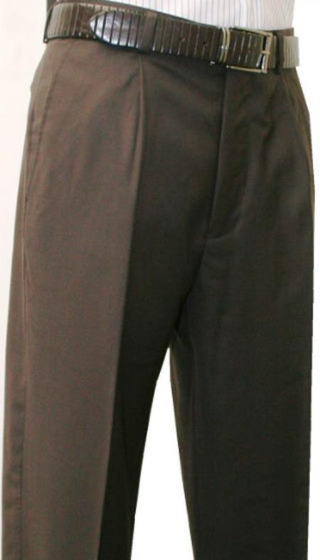 Mens Brown Single Pleated Dress Pants Roma Medium