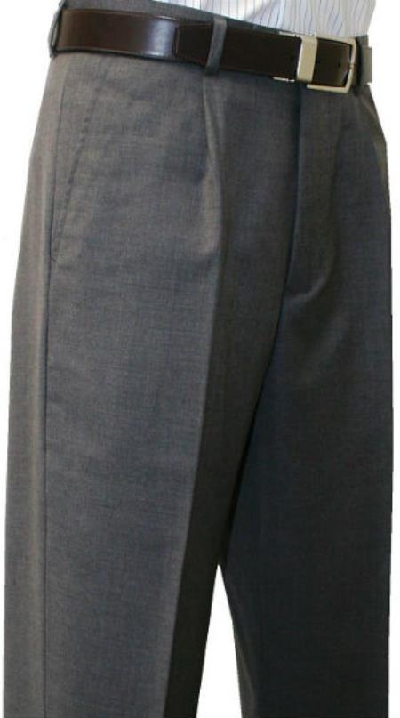 Mens Single Pleated Dress Pants Roma Medium Gray