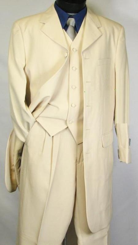 SKU# BLJ324 6498 Light Beige~Khaki FASHION ZOOT SUIT 38INCH LONG JACKET WITH COVERED BUTTON $490