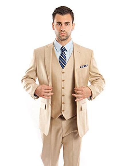 Men's Modern Fit 3 Piece Vested Light Beige Suits Flat Front Pants