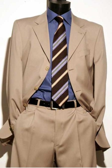SKU# GBT-K3 Light Beige premier quality italian fabric Super 150 Wool Mens Dress Suit $175 Compare at $995