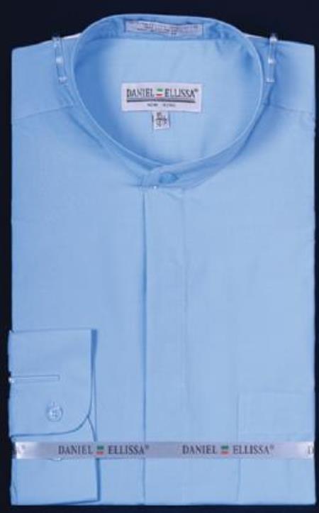 Banded Collar Dress Fashion collarless Button Cuff Light Blue Men's Dress Shirt