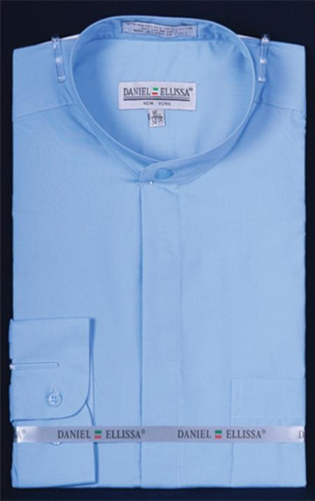 Banded Preacher Round Style Mandarin Collarless Light Blue Oriental Mao Chines Style Mens Dress Shirt
