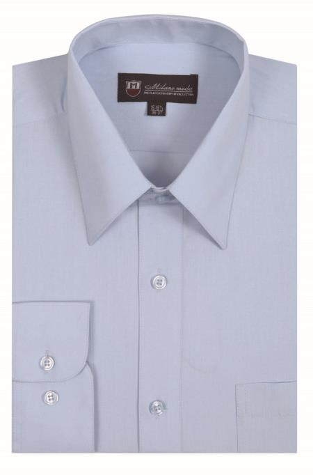 Light Blue Classic Fit Plain Solid Color Traditional Mens Dress Shirt