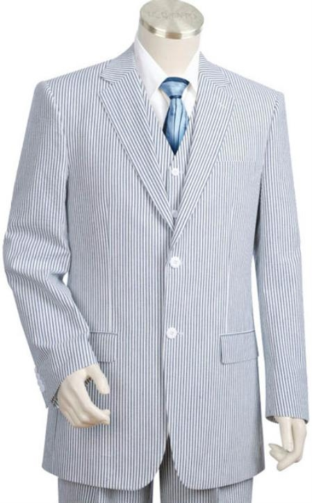 SKU#BS1462 Mens 2pc 100% Cotton Seersucker Suits BlueoffWhite