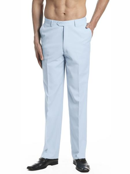 Mens Dress Pants Trousers Flat Front Slacks Light Blue