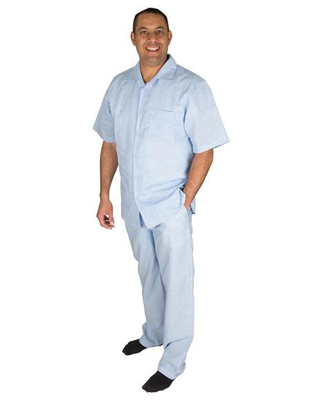 Mens Light Blue Short Sleeve Button Closure 100% Linen 2 Piece Shirt