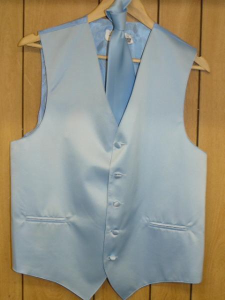 LIGHT BLUE  GROOMSMEN DRESS TUXEDO WEDDING Vest ~ Waistcoat ~ Waist coat & TIE SET Buy 10 of same color Tie For $25 Each