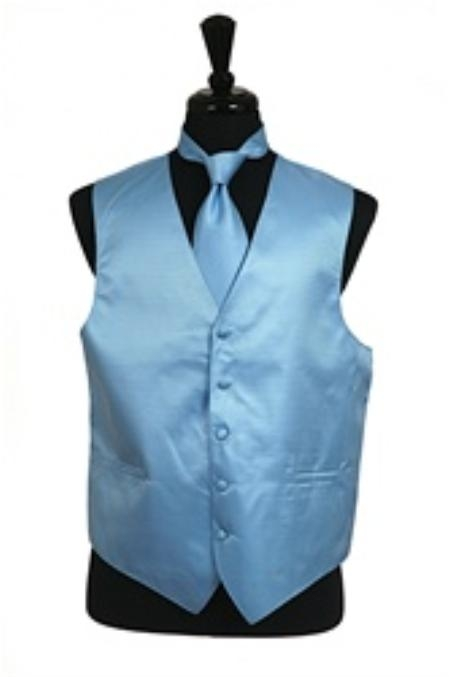 Horizontal Rib Pattern Vest Tie Set Light Blue