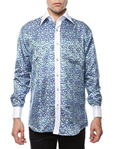 Shiny Satin Floral Spread Collar Paisley Dress Club Clubbing Clubwear Shirts Flashy Stage Colored Two Toned  Woven Casual Light Blue-White Mens Dress Shirt