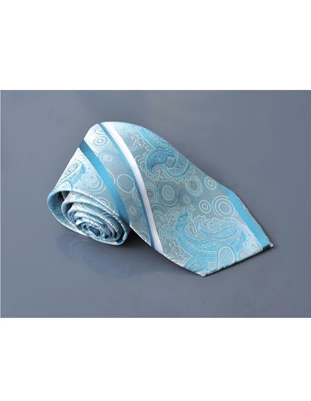 Millani Light Blue 100% Polyster Fashion Jacquard Woven Necktie For Men