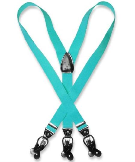 SKU#K7VR Mens turquoise ~ Light Blue Stage Party Blue Suspenders Y Shape Back Elastic Button & Clip Convertible