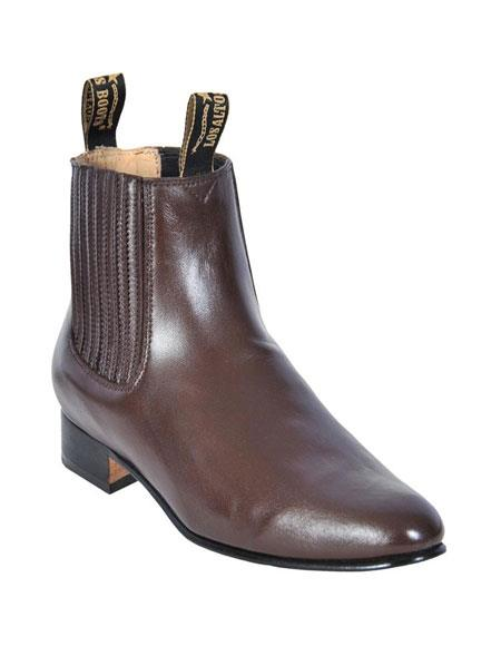 SKU#GD206 Los Altos Charro Botin Short Ankle Deer Light Brown Leather Boots For Men