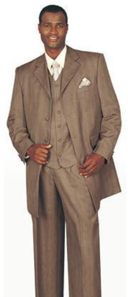 SKU# BLJ324 6498 Light Dark Tan ~ Coffe FASHION ZOOT SUIT 38INCH LONG JACKET WITH COVERED BUTTON $490