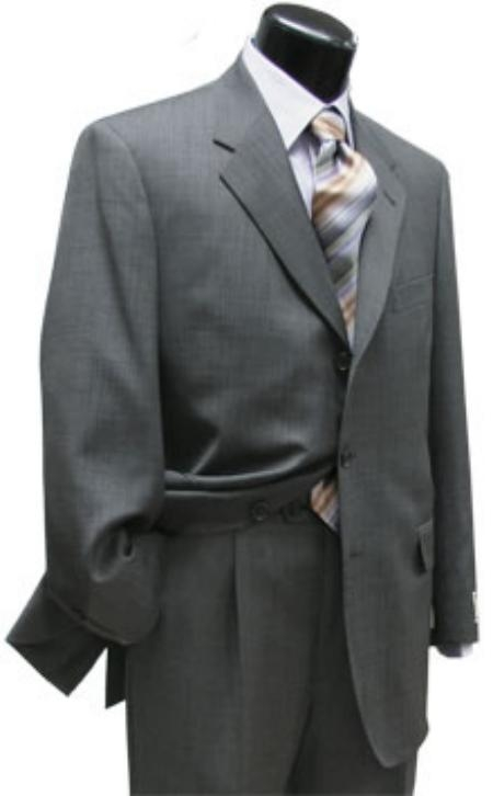 SKU# ZTL-77 Light Gray Super 120 Wool 3 Buttons Mens Suits