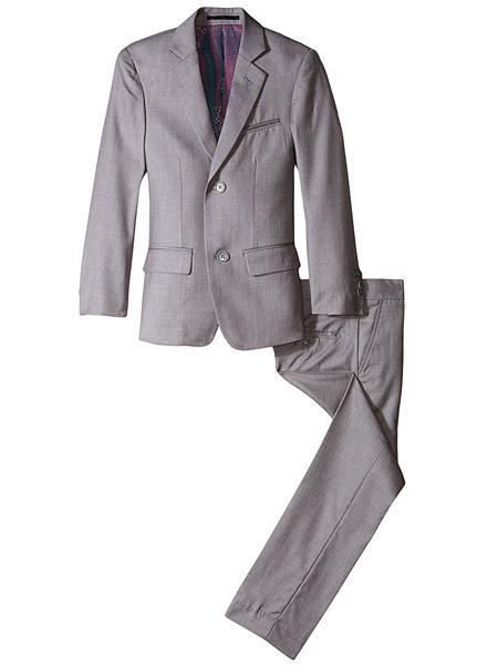 kids children Boy's Slim Linen/Cotton Light Kids Sizes Grey 2 Piece Cut Suit Perfect for toddler Suit wedding  attire outfits