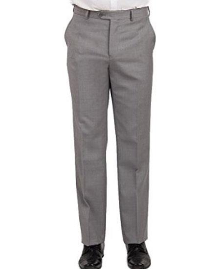 Mantoni Men's Front Front Light Grey Pant - Cheap Priced Dress Slacks For Men On Sale