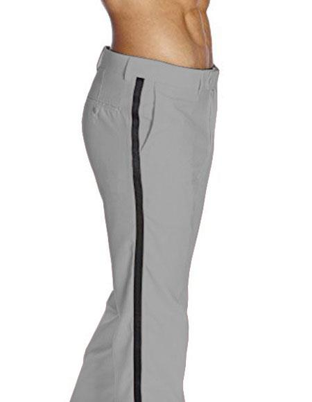 Mens Light Grey Flat Front With Satin Band Classic Fit Tuxedo Pant