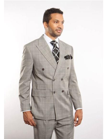 Buy GD1236 Men's Plaid ~ Windowpane Can Blazer Sport Coat Pattern Double Breasted Peak Lapel Button Closure Suit Light Grey