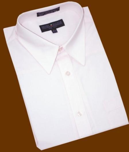 SKU#RM569 Light Pink Cotton Blend Dress Shirt With Convertible Cuffs