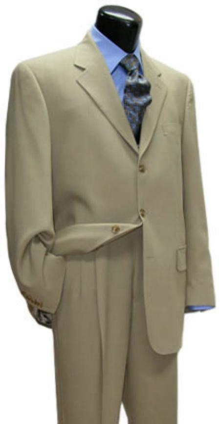 SKU# 3BTZW149 Light Tan three-button Buttons Super 120s Wool Mens Suits $149
