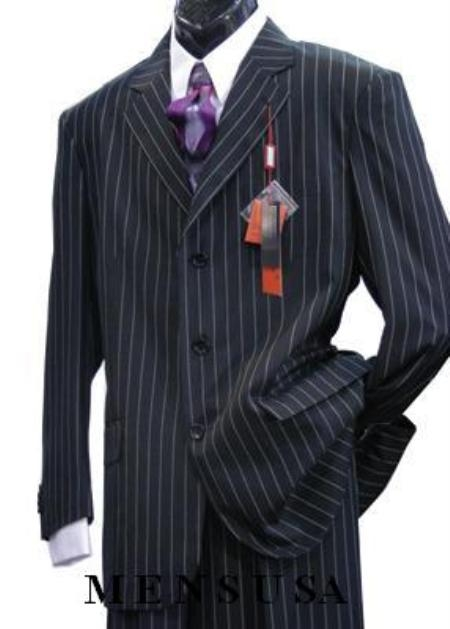 SKU# KW32 Chalk Light Weight Beautiful Jet Liquid Black & Bold With Pinstripe Single Breasted Suit $109