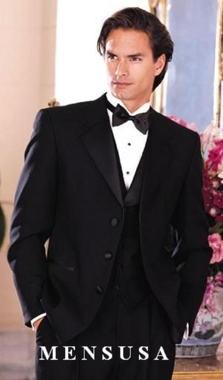 SKU# IMUT4 Light Weight Quality Black 3 Button Tuxedo (Packge) With Falt Front Pants $319