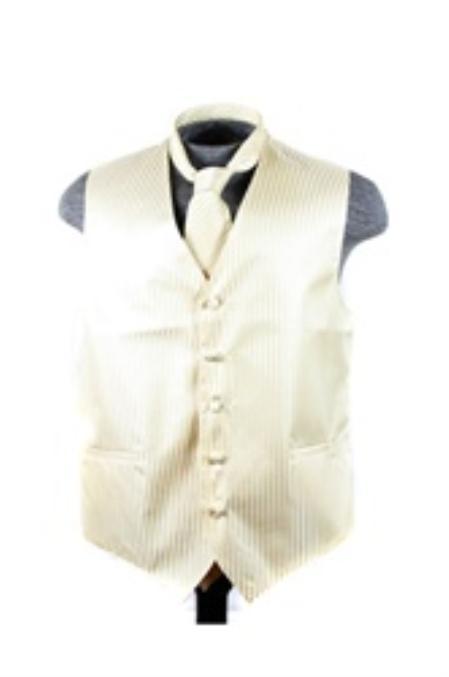 Dress Tuxedo Wedding Vest ~ Waistcoat ~ Waist coat Tie Set Egg Yoke