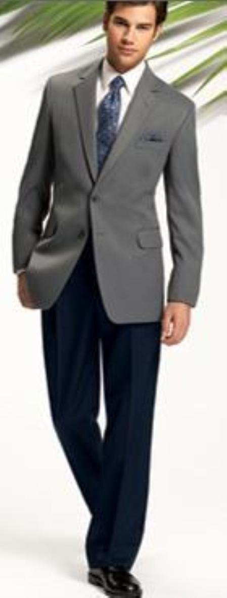 SKU#GO2 Light~Medium Gray 2 Button Jacket + Navy Blue Pants (Wedding Suit) $179