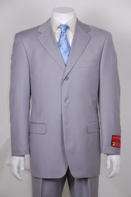 SKU#RU623 Light Gray 3 Button Vented Wool with 1 Pleated Pants $295