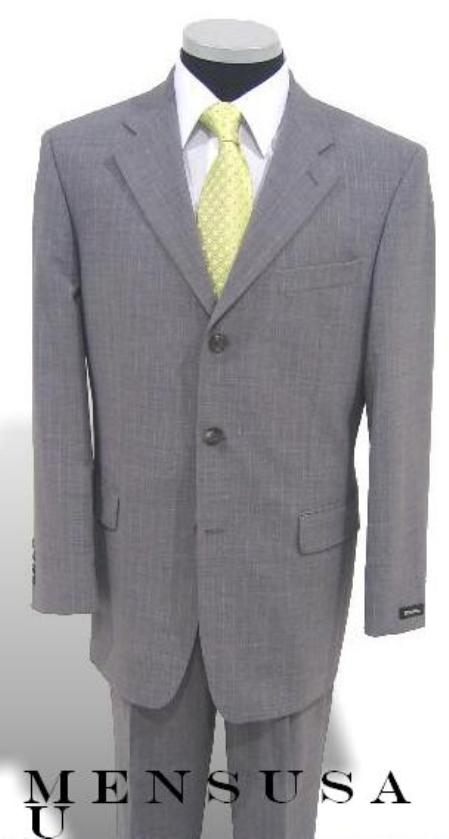 SKU# APB986 $1295 Light Gray Mini Small White Pinstripe 3 Buttons Super 120