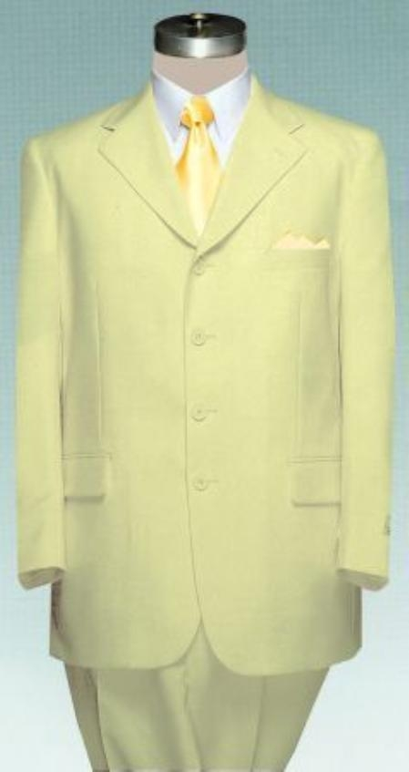 SKU#MUTC74 Light Pale Yellow~Champagne Dress Party Lightweight and Comfortable Suit (Available in 3 Button Style Jacket + Pants) $95