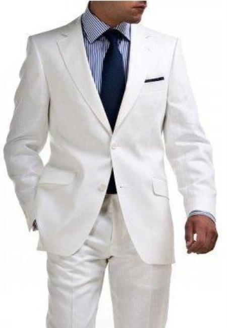 SKU#ANA_M180 Light Weight 2 Button Tapered cut Half Lined Flat Front Linen Suit Vented $275