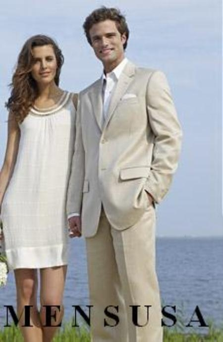 SKU#Eric_DP Mens & Boys Sizes Light Weight Light Tan ~ Beige khaki (Sand) suit Cotton&Rayon&Linen 2 Button