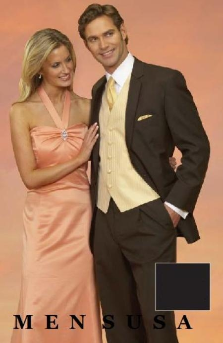 SKU#PDX368 Light Weight Two Button CoCo Brown Notch Wedding Suits As seen IN Bridal Magazin $159