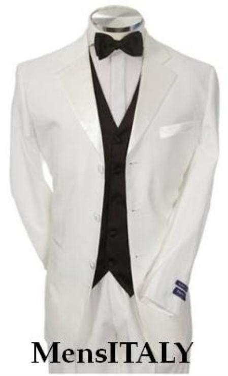 SKU# MG27 Light Weight White Mens Tuxedo 3 Button Tuxedo Suit Black Vest + Tuxedo Shirt & Bow Tie Packag