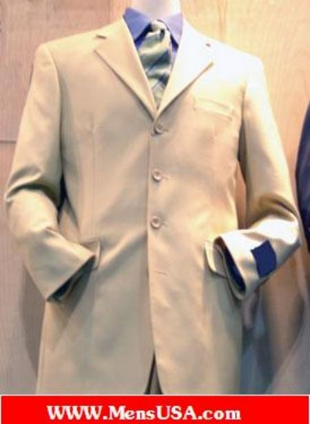 SKU# KDP836 Lightest Tan 4 Buttons Super 100s Wool Suit $199