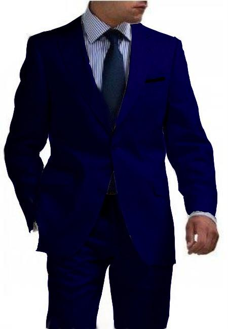 SKU#NVB4321 Mens & Boys Sizes Light Weight 2 Button Tapered Cut Half Lined Flat Front Linen Suit Vented Navy Blue