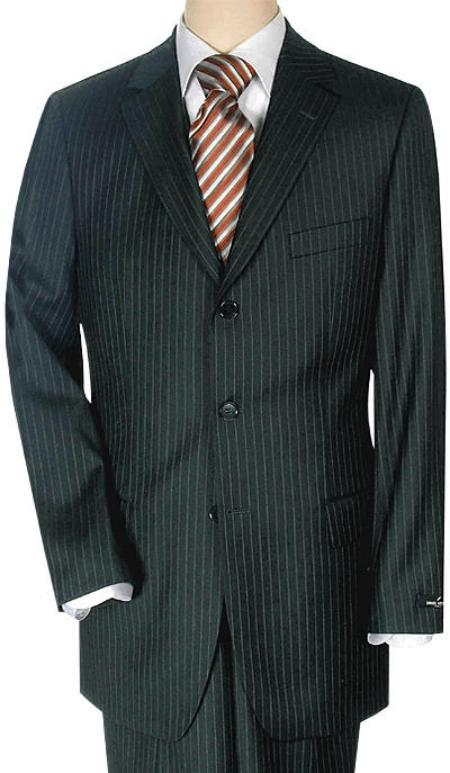 SKU# F4489 Lightweight Worsted Wool Small Black  Travelor Small Mini Pinstripe $275