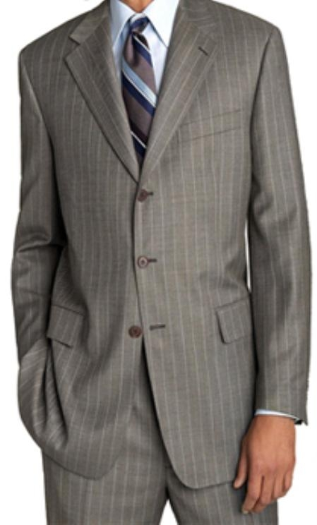SKU# 45 Lightweight Worsted Wool Light Grey Travelor White Pinstripe Suit $199