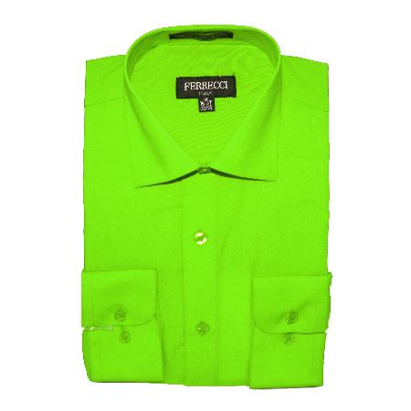 SKU#BS303 Lime Green Cotton Blend Dress Shirt With Convertible Cuffs $49