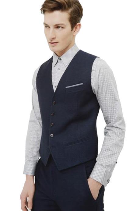 Linen Navy Blue  Vest